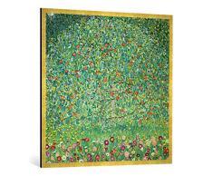 Gerahmtes Bild von Gustav Klimt Apfelbaum I, Kunstdruck im hochwertigen handgefertigten Bilder-Rahmen, 100x100 cm, Gold Raya