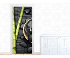 Graz Design 791182_080 Türbild Türaufkleber Tür Deko Türfolie Badezimmer Wellness Steine Bambus (Größe=80x213cm)