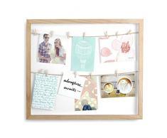 Umbra 310080-390 Clothesline Multibilderrahmen vertikal mit 12 kleinen Wäscheklammern für Fotos oder Notizen, natur