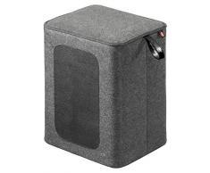 Hailo 4261-001 Q Sitzhocker, filz grau / echtleder schwarz