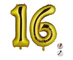Relaxdays Folienballon Zahl 16, Party Deko, Geburtstag, Ballon für Luft & Helium, XXL Zahlenluftballon 85-100cm, Gold