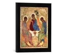 Gerahmtes Bild von Andrei Rublev The Holy Trinity, 1420s, Kunstdruck im hochwertigen handgefertigten Bilder-Rahmen, 30x40 cm, Schwarz matt