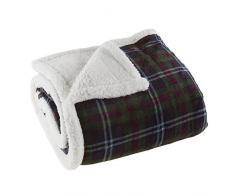 Lavish Home Fleece-Decke / Überwurf Kariert, grün/rot grün