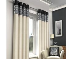 Just Contempo Moderner Ösenvorhang Vorhang, gefüttert, 116,8x 137,2cm–Schwarz