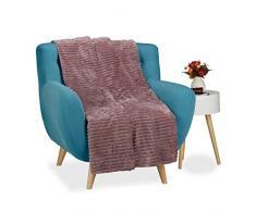 Relaxdays Kuscheldecke groß, Tagesdecke 150 x 200 cm, Wohndecke warm, Sofadecke flauschig, Sofaüberwurf uni, altrosa