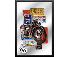 empireposter - Route 66 - Bike - Größe (cm), ca. 20x30 - Bedruckter Spiegel, NEU - Beschreibung: - Bedruckter Wandspiegel mit schwarzem Kunststoffrahmen in Holzoptik -