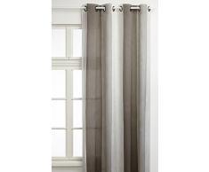 Linder 0906 /10/375FR Vorhang mit Ösen, gestreift, 145x280cm, Grau / Weiß
