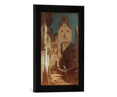 Gerahmtes Bild von Carl Spitzweg Der eingeschlafene Nachtwächter, Kunstdruck im hochwertigen handgefertigten Bilder-Rahmen, 30x40 cm, Schwarz matt