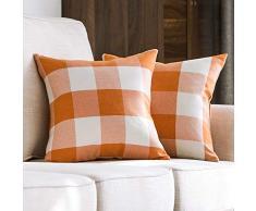 MIULEE 2 Stück, Samt Weiches Solide Dekorativen Überwurf Kissenbezüge Set, quadratisch Kissen Fall Sofa Schlafzimmer Auto 2 Pieces, 18x18 G-Plaids Orange+White