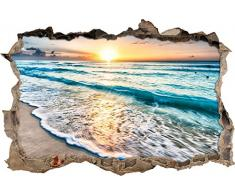 Pixxprint 3D_WD_S2534_92x62 wundervoller Sonnenuntergang am Meer Wanddurchbruch 3D Wandtattoo, Vinyl, bunt, 92 x 62 x 0,02 cm