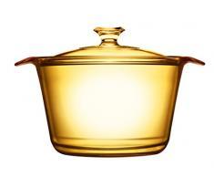VISIONS pyroceram Flair Kochtopf mit Glas, braun, 30,4 x 23,8 x 15,3 cm