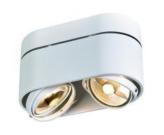 SLV LED Deckenlampe KARDAMOD für eine effektvolle Innenbeleuchtung   Dreh- und schwenkbare LED Deckenleuchte, Decken-Strahler, Spot Innenleuchte   Zweiflammig, Rund, Weiß, GU10, max 75W, E -A++