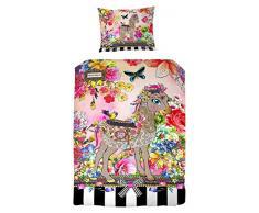 Melli Mello farbigen Kinderbettwäsche Miloui mit Blumen und Tiere, 200 x 135 x 0,5 cm, mehrfarbig