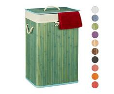 Relaxdays, blau Wäschekorb Bambus, mit Deckel, rechteckig, XL, 83 L, faltbarer Wäschesammler, HBT: 65,5 x 43,5 x 33,5 cm