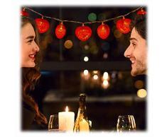 Relaxdays Herz Lichterkette, 10er LED, batteriebetrieben, romantische Dekobeleuchtung für versch. Anlässe, 170 cm, rot