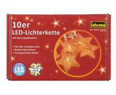 Idena 30112 - Dekolichterkette Stern mit 10 warm weißen LED und Timer, ca. 165 cm, Plastik, kupfer