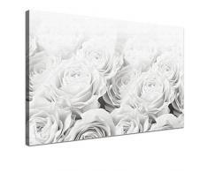 LANA KK - Leinwandbild Bed Of Roses BW mit Blumen auf Echtholz-Keilrahmen – Frühling und Natur Fotoleinwand-Kunstdruck in weiß, einteilig & fertig gerahmt in 100x70cm