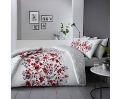 """DnD Wendbare Tagesdecke """"Gabriella"""" mit prächtigem Blumenmusterband vorne und Blättern auf der Rückseite, 229 x 195 cm, rot, Doppelbett"""