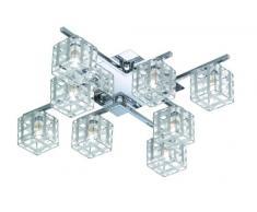 Reality Leuchten Deckenleuchte, Schirm aus Aludraht, 8xG9 28 W ECO, 370 lm, 2700 K, 53 x 53 cm, chrom R61358906