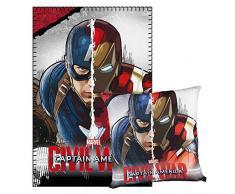 Cerdá Captain America-Fleecedecke und Kissen, 150x 100x 15cm, grau