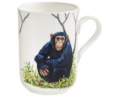 Maxwell & Williams Animals of The World Schimpanse, Geschenkbox, Porzellan, PBA0010 Becher, weiß, bunt, 10.5 x 7.5 x 10.5 cm