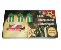 Hellum 811537 LED-Energiespar Lichterkette Riffelkerzen warm-weiß, matt, 15-teilig, Gesamtlänge 12,8m, für Innen