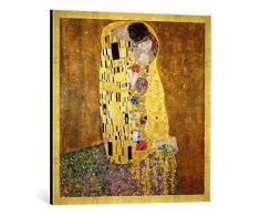 Gerahmtes Bild von Gustav Klimt Der Kuß, Kunstdruck im hochwertigen handgefertigten Bilder-Rahmen, 70x70 cm, Gold raya