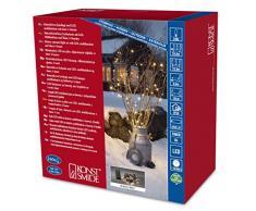 Konstsmide 3733-100 LED Lichterkette/für Außen (IP44)/Batteriebetrieben: 4xD 1.5V (exkl.)/6h-Timer/mit 8 Funktionen, Steuergerät und Memoryfunktion/240 warm weiße Dioden/schwarzes Kabel