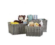 Relaxdays Aufbewahrungskörbe Set groß, 3-teilig, geflochtene Boxen, Aufbewahrungsboxen für Regale, Flechtkorb, grau