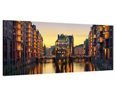 ge-Bildet Leinwandbild zum Angebotspreis Stadtbilder Panorama Wasserschloss in der Speicherstadt - Hamburg - 100x40 cm einteilig -11 D