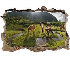 Pixxprint 3D_WD_2548_92x62 Pferde auf einer Koppel Wanddurchbruch 3D Wandtattoo, Vinyl, bunt, 92 x 62 x 0,02 cm