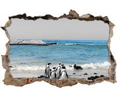 Pixxprint 3D_WD_5074_62x42 lustige Pinguine am Strand Wanddurchbruch 3D Wandtattoo, Vinyl, schwarz / weiß, 62 x 42 x 0,02 cm