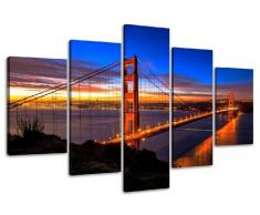 Visario Leinwandbilder 5512 Bild auf Leinwand Nummer 5512 San Francisco USA Golden Gate Bridge, 5-teilig, 160 cm