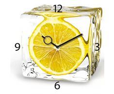 Wanduhr aus Glas für die Küche, Iced Lemon, Zitrone im Eiswürfel, gelb, 30x30 cm von Eurographics