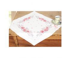Vervaco Tischdecke rosa Rosen bedruckte Decke mit Webrand, Baumwolle, Mehrfarbig, 80.0 x 80.0 x 0.30000000000000004 cm, 1 Einheiten