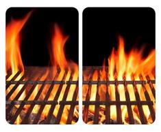 Allstar 53864100 Glasabdeckplatten Feuer, 2er Set, Kochplattenabdeckung für Glaskeramik-Kochfelder, Gehärtetes Glas, 30 x 0.5 x 52 cm, Mehrfarbig