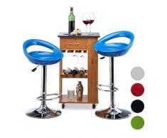 Relaxdays Barhocker 2er Set, höhenverstellbar, drehbar, bis 120 kg, mit Lehne, Barstuhl, HxBxT: 98,5 x 46 x 39 cm, blau