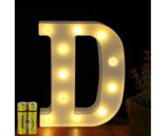 Funrui Markisen-LED-Lichterkette mit 26 Alphabet-Lichtern, beleuchtet, für Schlafzimmer, Nachtlicht, Hochzeit, Geburtstag, Party, Festival, Valentinstag, batteriebetrieben, Dekoration für Zuhause, Bar-Dekoration D