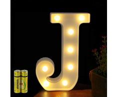 Funrui Markisen-LED-Lichterkette mit 26 Alphabet-Lichtern, beleuchtet, für Schlafzimmer, Nachtlicht, Hochzeit, Geburtstag, Party, Festival, Valentinstag, batteriebetrieben, Dekoration für Zuhause, Bar-Dekoration J