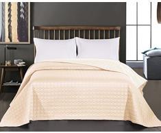 DecoKing Premium 11928 Tagesdecke 170 x 270 cm Ecru beige Bettüberwurf Kreisen zweiseitig pflegeleicht Salice
