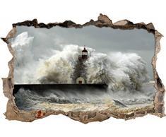 Pixxprint 3D_WD_S2493_92x62 gigantische Welle erfasst Leuchtturm Wanddurchbruch 3D Wandtattoo, Vinyl, bunt, 92 x 62 x 0,02 cm