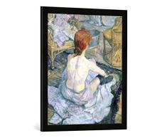 Gerahmtes Bild von Henri de Toulouse-Lautrec Woman at her Toilet, 1896, Kunstdruck im hochwertigen handgefertigten Bilder-Rahmen, 50x70 cm, Schwarz matt
