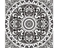 INDIGOS WG20247-90 Wandtattoo w247 Blume Ranke Orient Kreis Wandaufkleber, 96 x 96 cm, silber