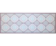 oKu-Tex Fußmatte | Schmutzfangmatte | Mosaik Muster Retro Design | Deco-Style | Türvorleger für innen | rutschfest | grau/hellblau | 45x75 cm