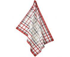 kela Geschirrtuch Tabea Cups im Karodesign schmal 50x70cm aus Baumwolle, Weiß/Rot/Taupe, 50 x 60 x 1 cm