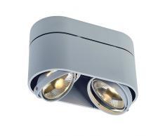 SLV LED Deckenlampe KARDAMOD für eine effektvolle Innenbeleuchtung | Dreh- und schwenkbare LED Deckenleuchte, Decken-Strahler, Spot Innenleuchte | Zweiflammig, Rund, Silbergrau, GU10, max 75W, E -A++