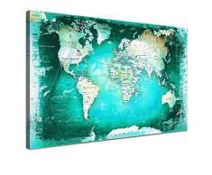 LANA KK - Leinwandbild Weltkarte SW Türkis Weltkarte - deutsch - Kunstdruck-Pinnwand auf Echtholz-Keilrahmen – Globus in türkis, einteilig & fertig gerahmt in 120 x 80 cm