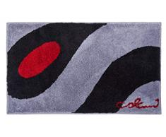 Grund COLANI Exklusiver Designer Badteppich 100% Polyacryl, ultra soft, rutschfest, ÖKO-TEX-zertifiziert, 5 Jahre Garantie, Colani 35, Badematte 80x140 cm, hellgrau-schwarz