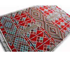 Laith 200x130 cm Waschbarer Orientalicher Teppich, Kelim,Kilim,Carpet,Bodenbelag,Rug, Kunstfaser mit samtiger(Chenille) Oberfläche, Helles Rot, 200 cm x 130 cm