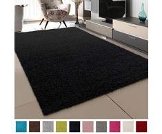 SANAT Teppich Wohnzimmer - Schwarz Hochflor Langflor Teppiche Modern, Größe: 200x290 cm